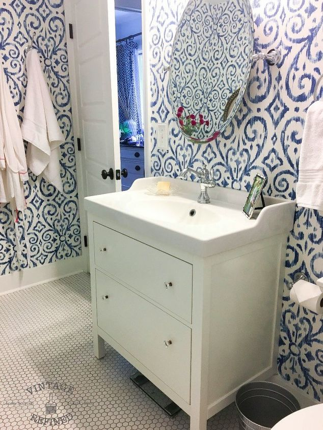 s these bathroom makeovers might inspire you to update your own, After Fresh Stenciled