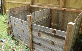 compost bin with repurposed fence panels