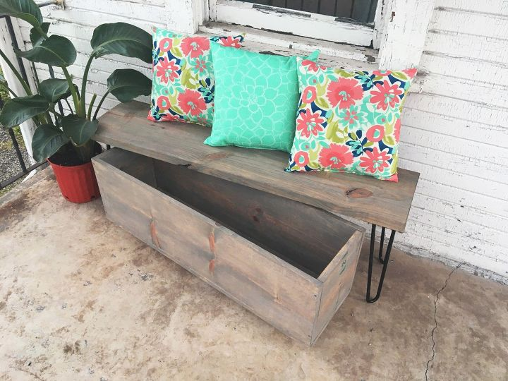 s 30 fun way to brighten up your backyard this summer, Build a hairpin bench with storage