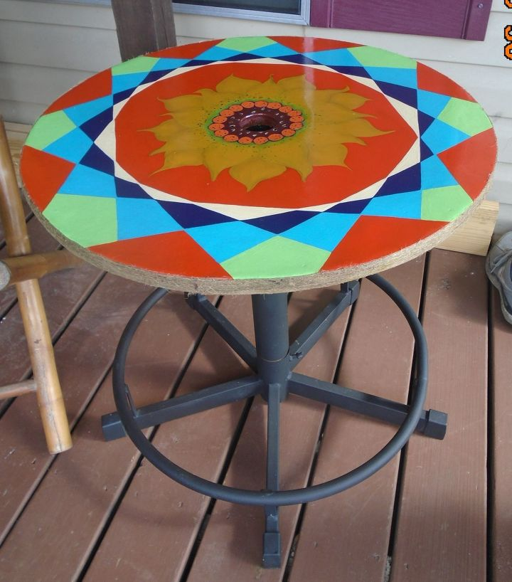 s 30 fun way to brighten up your backyard this summer, Upcycle a porch table in psychedelic colors