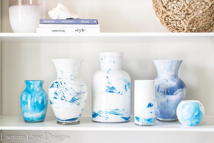 s 15 easy diy projects that you can do this weekend, Marbled Vases
