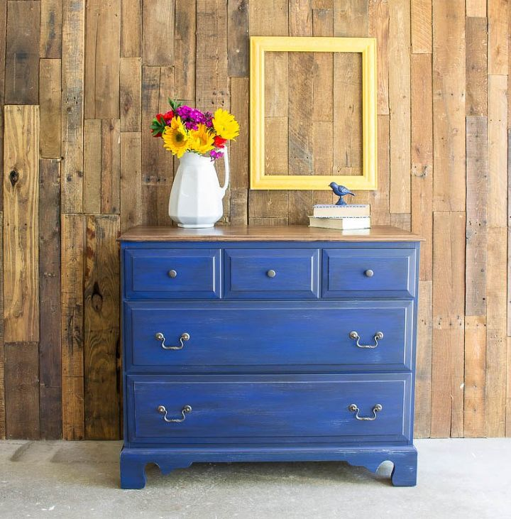 s 15 easy diy projects that you can do this weekend, Maple Dresser Makeover With Dark Denim Wash