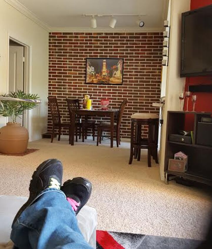 s 17 faux brick ideas for your home, Add Character Behind Your TV