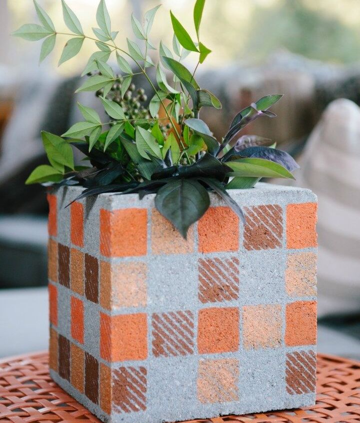 s 17 faux brick ideas for your home, Cinder Blocks Turned Flower Pots