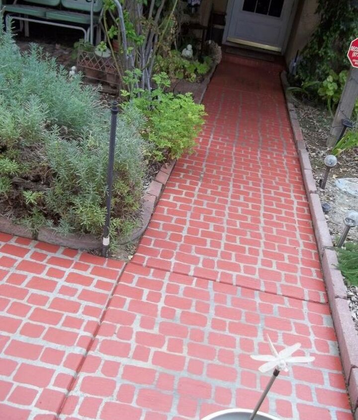 s 17 faux brick ideas for your home, Faux Brick Walkway