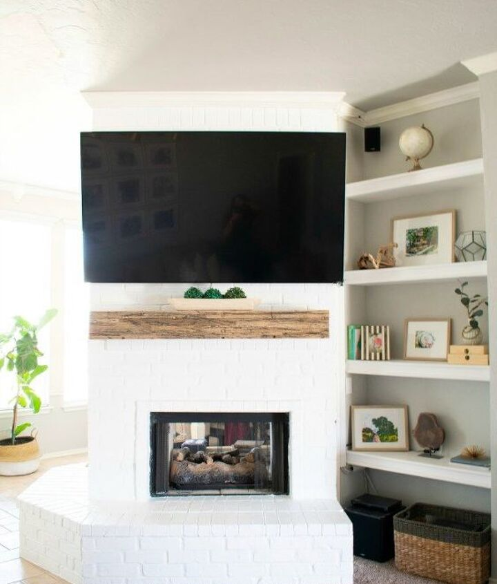 s 17 faux brick ideas for your home, White Clean Fireplace