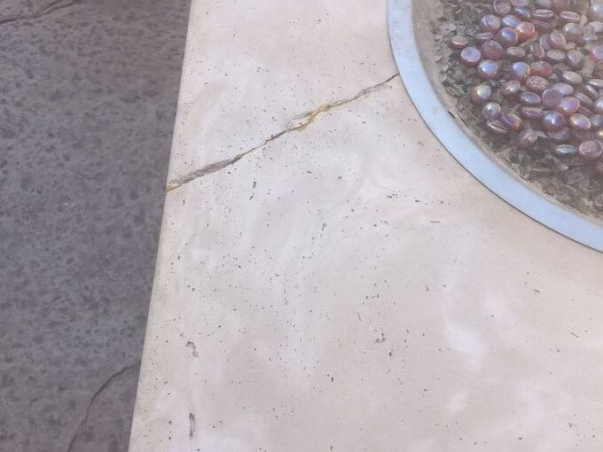 q my fire pit has a crack from side to side on the table top portion