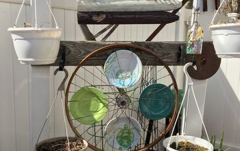backyard bicycle wheel upcycle