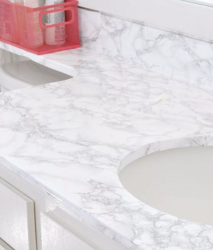 s 17 diy projects you can start and finish tonight, Update Your Countertop To Marble Look