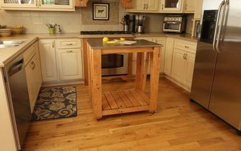 kitchen island with faux stainless steel top