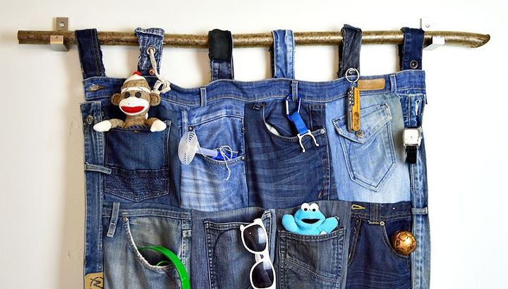 s 30 ways to use old jeans for brilliant craft ideas, Craft A Holder From A Denim Pocket Collage
