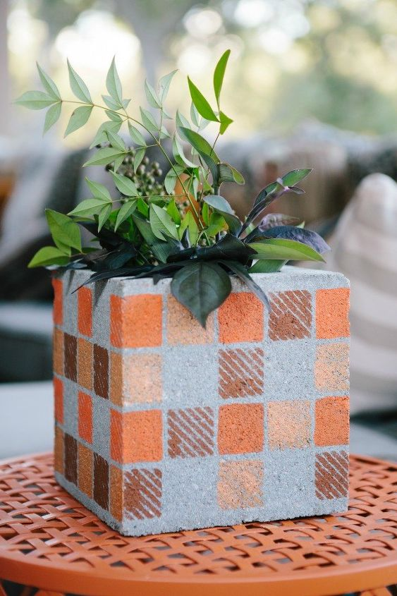 s 15 things to do with scrap material, Cinder Block Turned Flower Pot