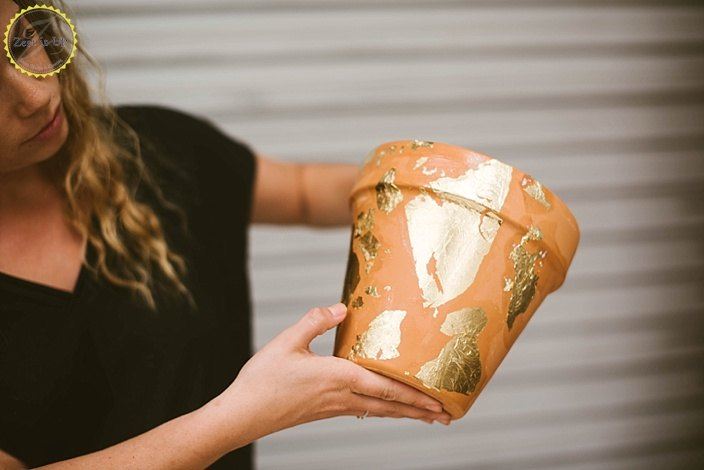 s 22 idea to make your terra cotta pots look oh so pretty, Decorate it with gold foil