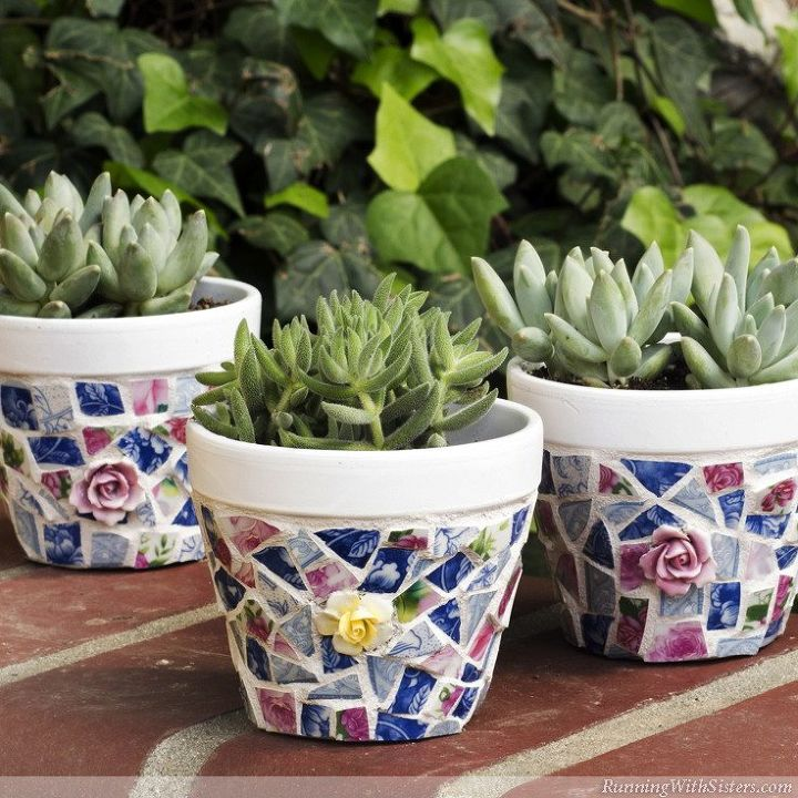 s 22 idea to make your terra cotta pots look oh so pretty, Make mosaic masterpieces