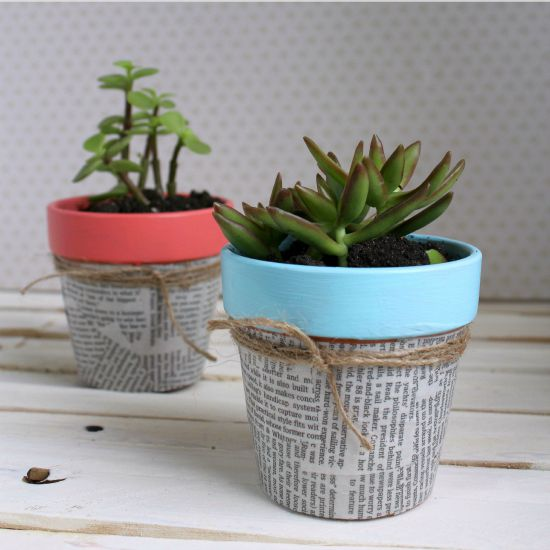 s 22 idea to make your terra cotta pots look oh so pretty, Decoupage them with newspaper