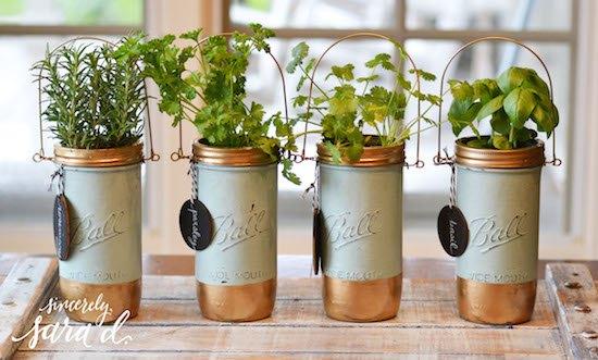 s 16 ways to showcase your herb garden, Repurposed Mason Jars