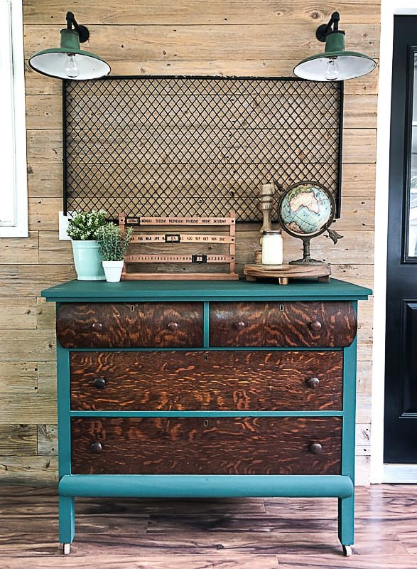 a dresser that sat on a front porch gets an easy makeover