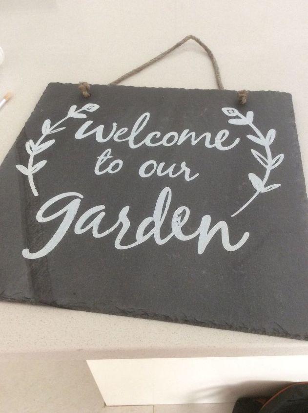 slate tile diy garden sign