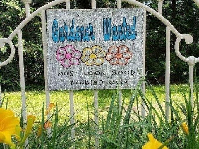 gardener wanted garden sign