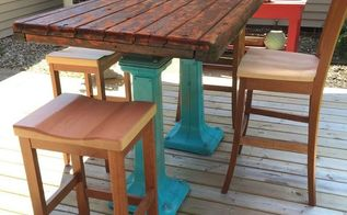 repurposed deck table, Completed table on Linda and Tim s deck