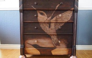 Antique Dresser Makover With Hummingbird Design