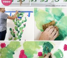 how to stencil an instagrammable cactus wall