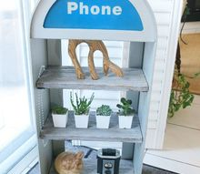faux barn board phone booth shelf