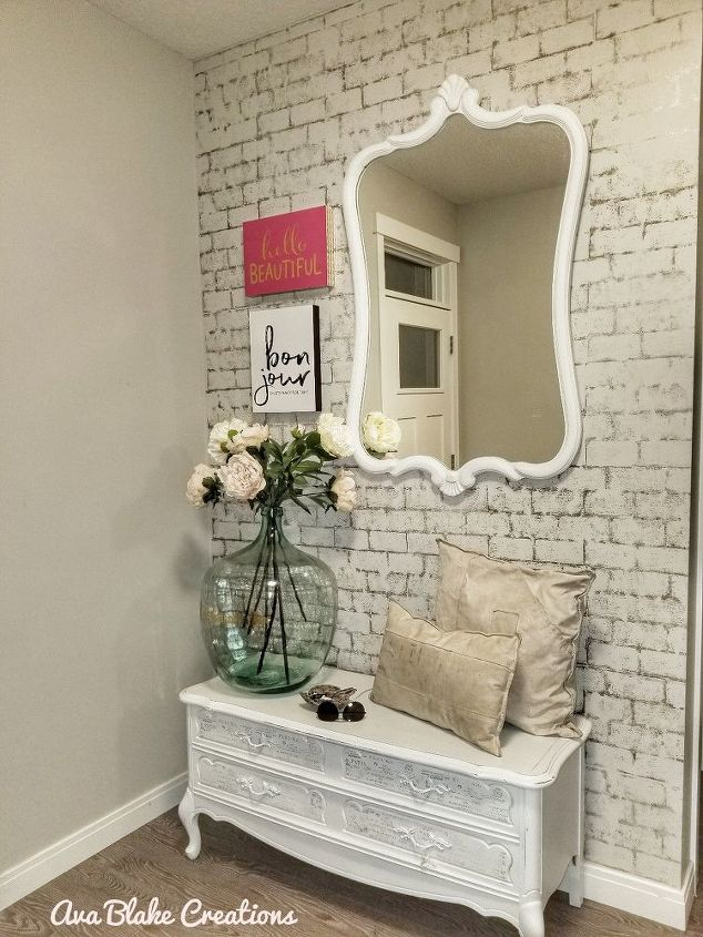 s 17 faux brick ideas for your home, Wall Makeover in Half An Hour