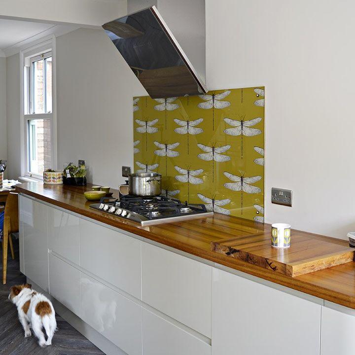 s 17 diy inspiring kitchen backsplashes, It s Wallpaper Time