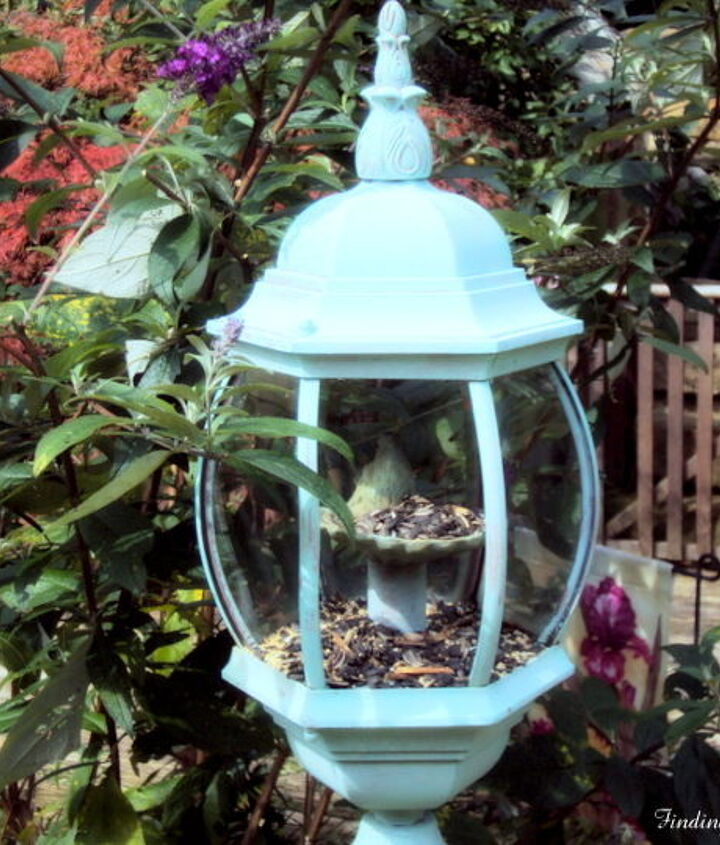 s 18 adorable bird feeders you ll want to make right now, Repurpose an old light fixture