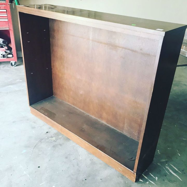 curbside bookcase transformed into farmhouse console table, Bookcase Curbside Find