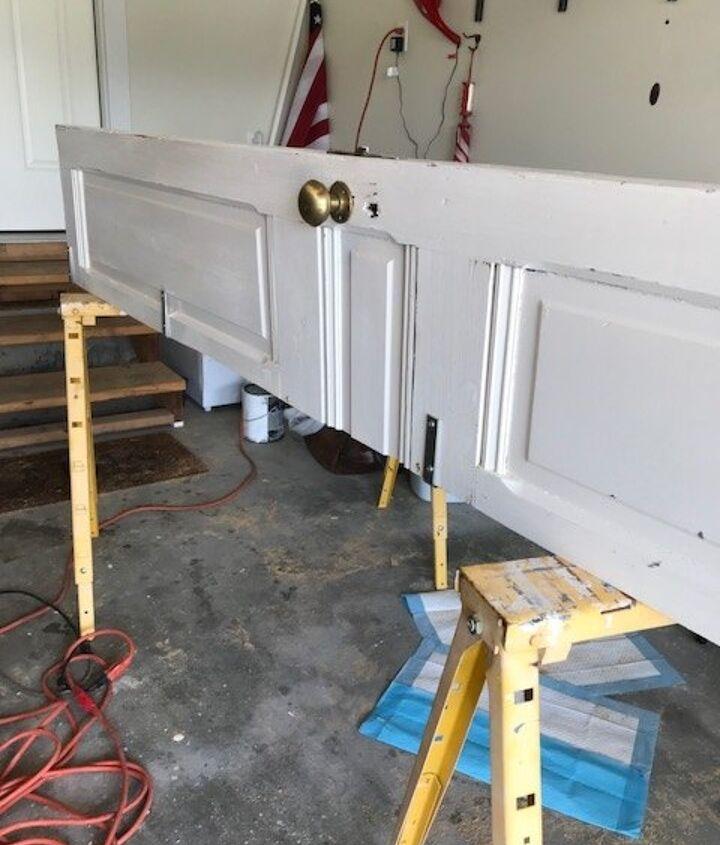 repurposed door corner shelf