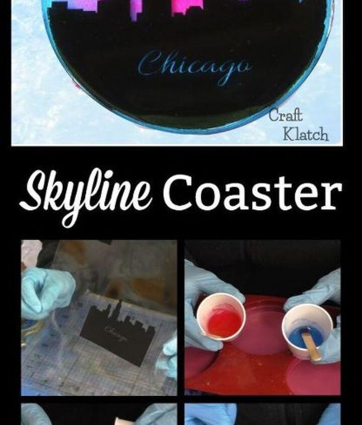 resin skyline coaster diy