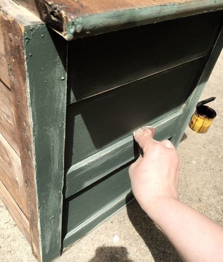 bold green cabinet makeover with step by step instructions