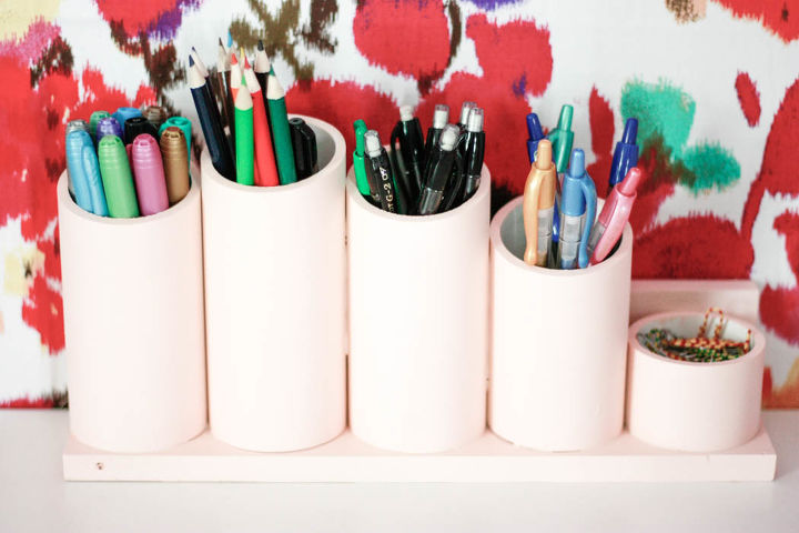 s these bloggers came up amazing organization ideas, PVC Pipe Pen Organizer
