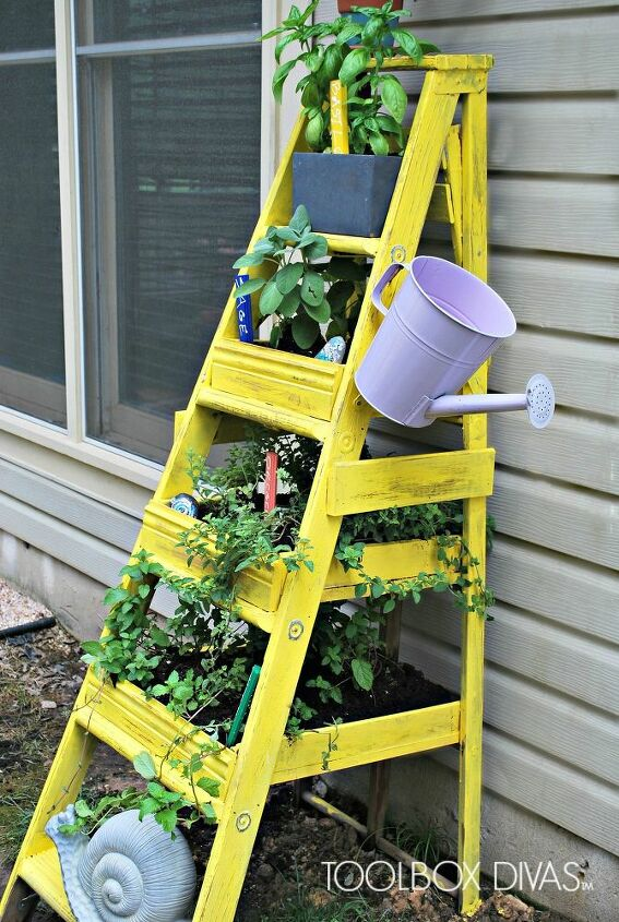 s 10 unique ways to plant your herb garden, Transform Your Busted Ladder Into A Planter