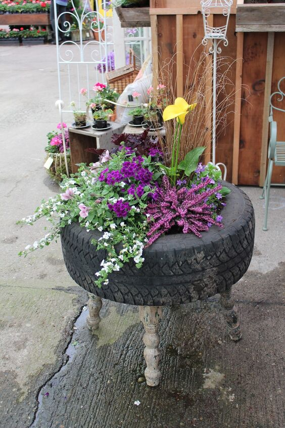 s 10 unique ways to plant your herb garden, Upcycle Old Tires Into Planters