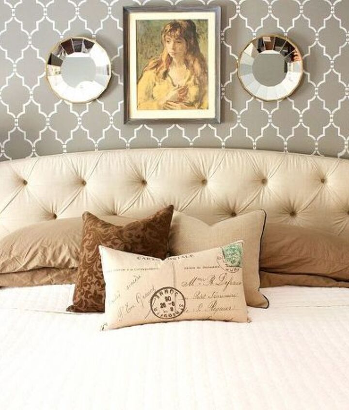 s 27 gorgeous update ideas for your bedroom, Paint an accent wall with a stencil