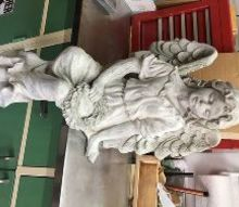 q large cement angel statue