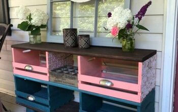 Teal and Coral Wooden Crate Storage Cubbies - Shabby Chic