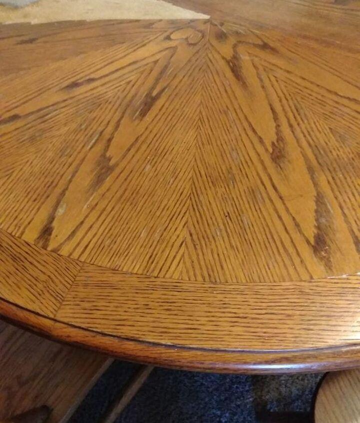 q how do i refinish a split peeling veneer compressed wood table