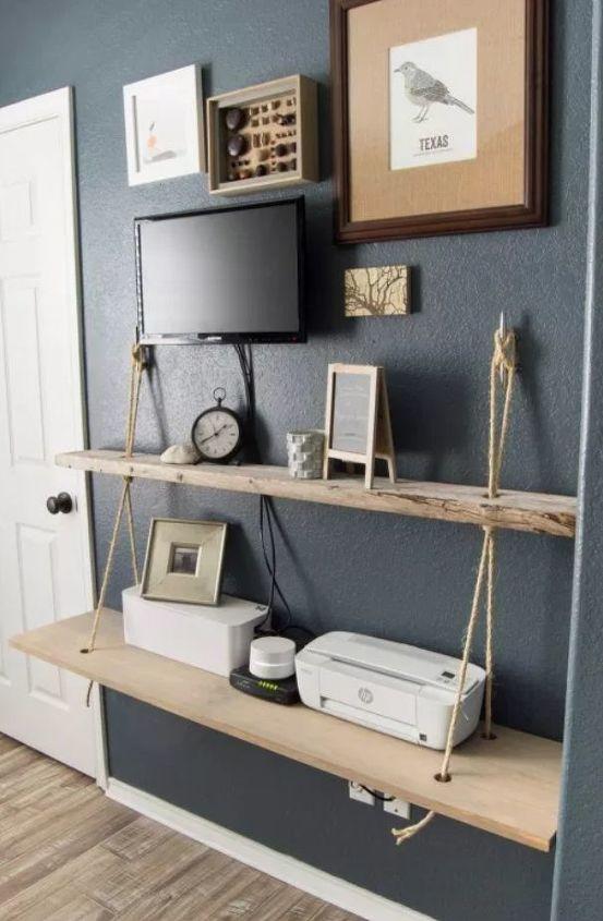 diy rope and wood nautical shelf