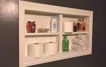 in the wall shelves for a tiny half bath