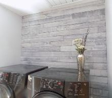 weathered wood plank wall laundry room