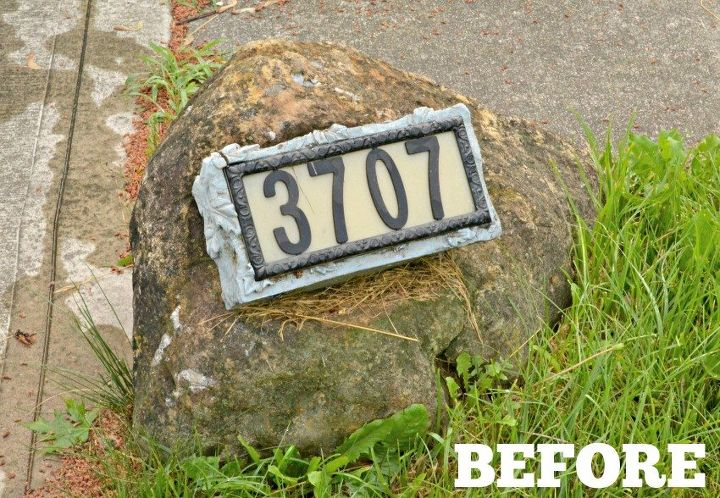 diy home address rock sign