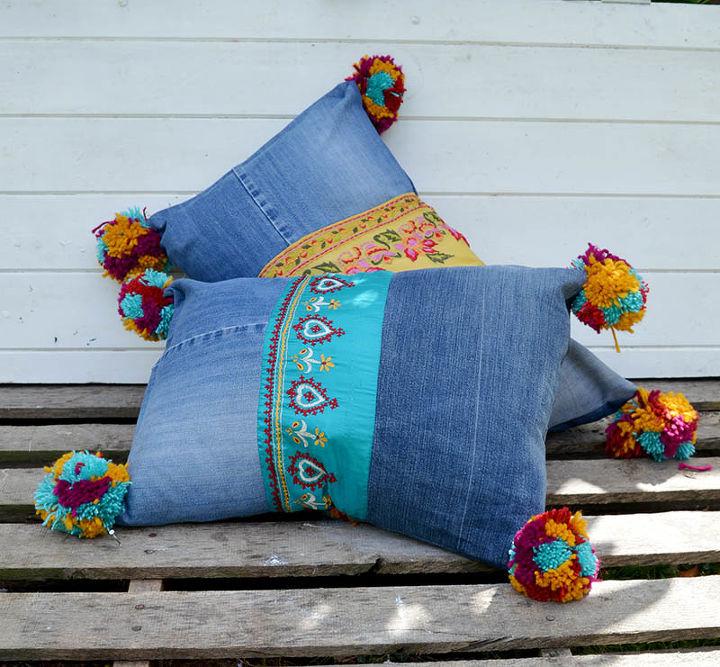 s 15 diy boho looks for less, Boho Style Recycled Denim Pillows