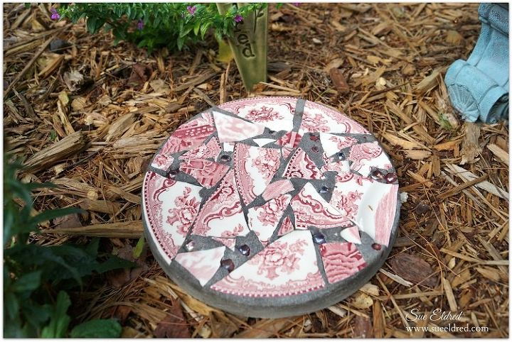 s 30 brilliant things you can make from cheap thrift store finds, Plate shards to a mosaic stepping stone