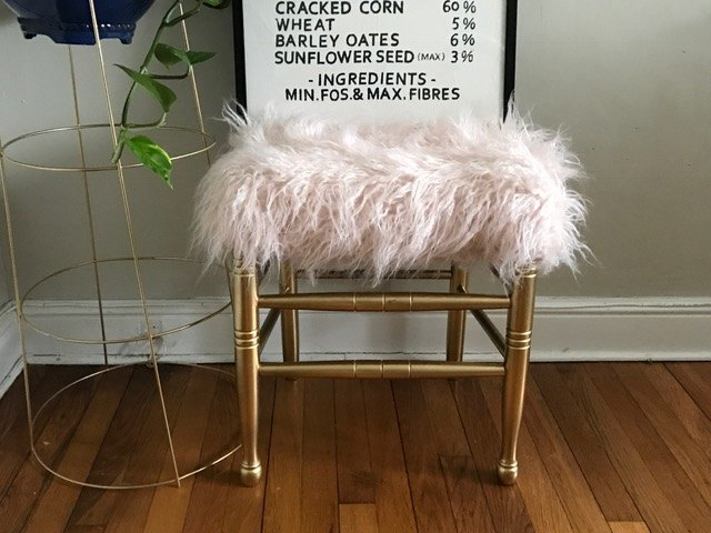s 30 amazing furniture flips you have to see to believe, Chair Transformed Into Faux Fur Foot Stool