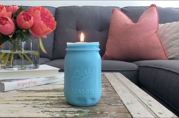 s 30 great mason jar ideas you have to try, Mold A Pretty Candle For The Coffee Table