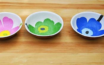 Bright Colourful Marimekko Wooden Bowls Upcycle.